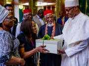 President Buhari with Chief Laz Ekwueme, Prof. O.Ekwueme and Mrs Beatrice Ekwueme