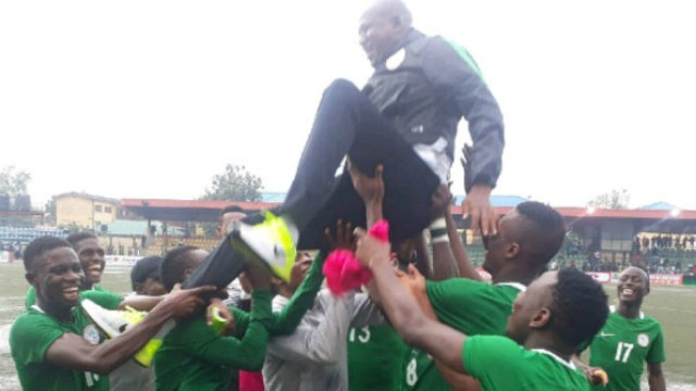 Flying Eagles' players in jubilant mood after their qualification on Saturday…
