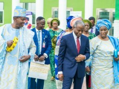 VP Osinbajo with celebrant Mummy G.O. RCCG, Pastor Mrs. Folu Adeboye (1st right) flanked by General Overseer RCCG, Pastor E. A. Adeboye (1st left) at the thanksgiving birthday ceremony