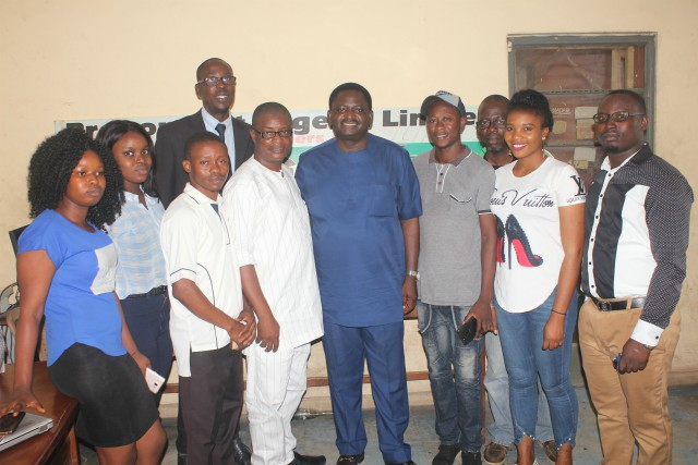 Chief Femi Adesina in a group photograph with a section of Parrotmen...