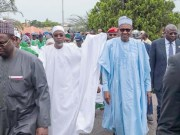 President Muhammadu Buhari with Governor Rauf Aregbesola of Osun State with others in Osogbo on Tuesday...