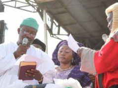 Dr Kayode Fayemi, the new governor of Ekiti State being sworn in...earlier on Tuesday...