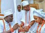 The Ooni of Ife, Oba Adeyeye Ogunwusi, left, with his new Queen, Moronke Naomi Silekunola...