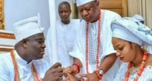 The Ooni of Ife, Oba Adeyeye Ogunwusi, left, with his new Queen, Moronke Naomi Silekunola...