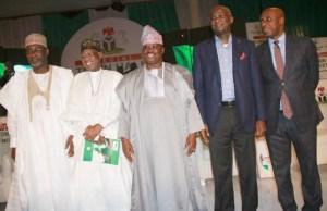 From the right: Rotimi Amaechi, Babatunde Raji Fashola, Oyo's Governor Abiola Ajimobi, Lai Mohammed...