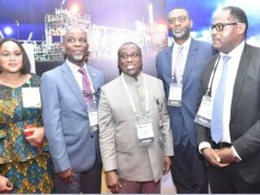 L-R: Vice President, Nigeria Gas Association (NGA), Mrs. Audrey Joe-Ezigbo; President, Mr. Dada Thomas; Group Managing Director, Nigeria National Petroleum Corporation, Dr. Maikanti Baru; Senior Technical Adviser Upstream and Gas to the Minister of State for Petroleum Resources, Mr. Gbite Adeniji; and Managing Director, Shell Nigeria Gas, Mr. Ed Ubong, during an inspection of the exhibition stand of Shell Companies in Nigeria at the opening session of the conference…
