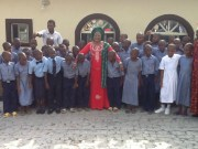 Osun State's Deputy Governor and Commissioner for Education, Mrs Titi Laoye-Tomori, middle, Oba Adedokun Abolarin, right, with the staff and students of Abolarin College...recently...