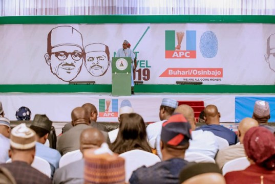 President Muhammadu Buhari delivering his speech at the event...