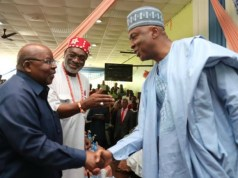 President of the Senate, Dr. Abubakar Bukola Saraki, ritht, with a former President of Tanzania, His Excellency, Benjamin Mkapa (Guest Lecturer) and Dr. Ben Ndi Obi, during the Zik Lecture…