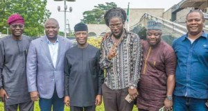 L-R: Mr Babajide Sanwo Olu, Governor Akinwunmi Ambode, Vice President Yemi Osinbajo, Daddy Showkey, Olaiya and Yinka Quadri...
