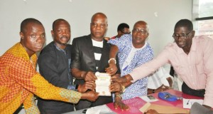L-R: Treasurer, Forum Mobile Advert Consultant of Oyo State , Mudashiru Bashiru, Chief Bartholomew Ehimare, Mr Victor Aikhuemelor, Oyo State Mobile Advert Operator, Chief Oke Theophilius Akanmu and the forum's secretary, Mr Osagie Victor during the launching of First Pecker…