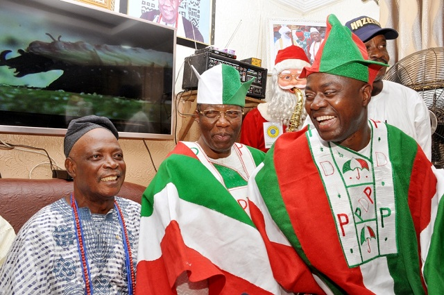 From left, Ekerin Olubadan, High Chief Rashidi Ladoja, former governor of Ogun State, Otunba Gbenga Daniel and Engr Seyi Makinde