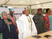 L-R: Member, All Progressives Congress (APC) Southwest National Reconciliation Committee, Mrs Saida Sa'ad Bugaje; Committee Chairman/Bornu State Governor, Alhaji Kashim Shettima; Lagos State Governor, Mr Akinwumi Ambode; and a former Deputy Governor of Ekiti State, Prof. Modupe Adelabu, during the committee's meeting with aggrieved party members, at the Government House, Ibadan...