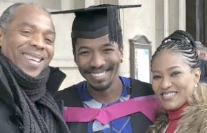 L-R: Femi, Omorinmade and Funke Kuti...happy family celebrating a feat...