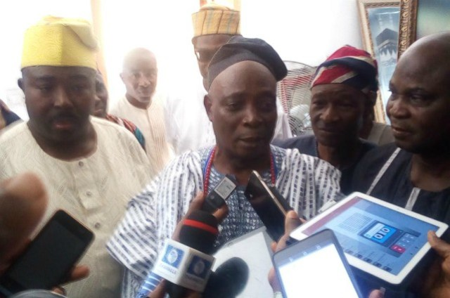 Senator Rashidi Ladoja, right, with Barrister Sharafadeen Alli, with media men on Thursday morning...