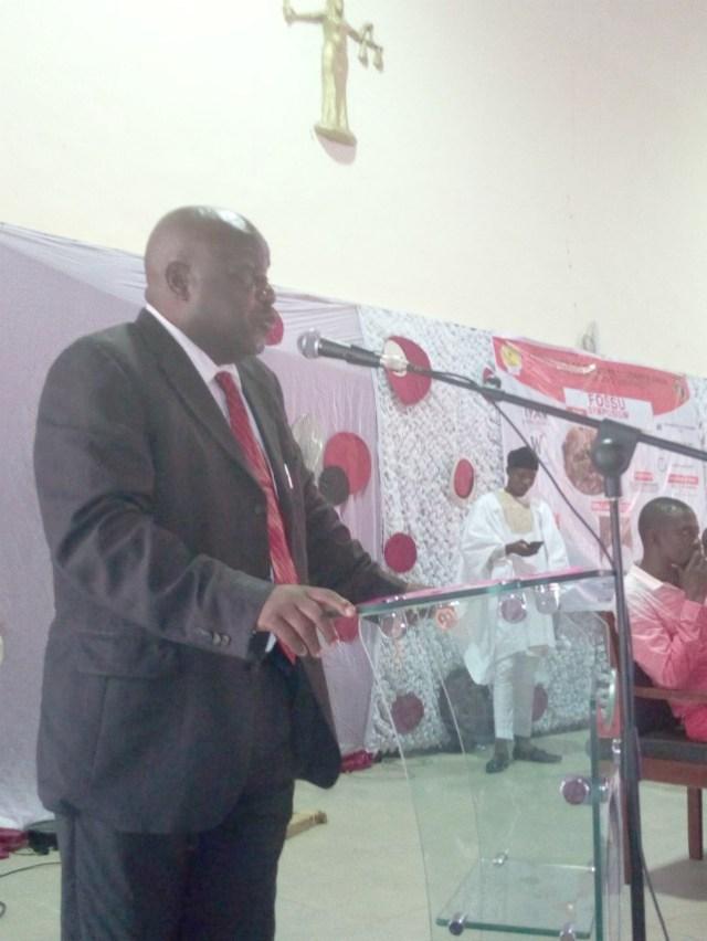 Senator Abdulfatai Buhari...delivering his lecture at the event...