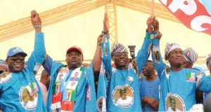 The gubernatorial candidate of APC in Lagos State, Mr Babajide Sanwo-Olu being presented at the event...