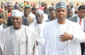 Alhaji Atiku Abubakar, left, with Senator Bukola Saraki...in Minna...