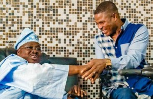Dr Olayinka Ayefele, MON, right, with Oyo's Governor Abiola Ajimobi...at the Governor's Office on Tuesday...