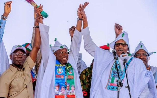 L-R: Comrade Adams Oshiomhole, Gov. Abdullahi Ganduje and President Muhammadu Buhari...during the Kano rally...on Thursday...