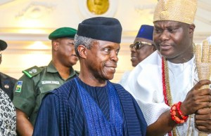 L-R: Senator Iyiola Omisore, Prof Yemi Osinbajo and The Ooni of Ife, Oba Adeyeye Ogunwusi...