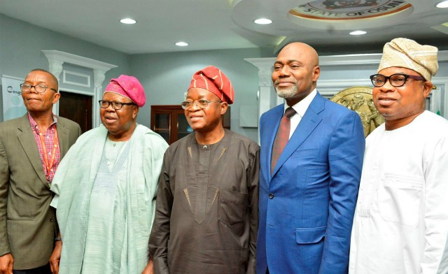 Governor of Osun State, Mr. Gboyega Oyetola (middle), Chairman of the Council and Pro-Chancellor, Osun State University, Mallam Yusuf Ali (2nd right), a member of the Council UNIOSUN, Engr. Tunde Ponle (2nd left), Vice Chancellor UNIOSUN, Prof. Labo Popoola (left) and Supervisor Ministry of Finance, Commerce and industry, Hon. Bola Oyebamiji, during the visit…