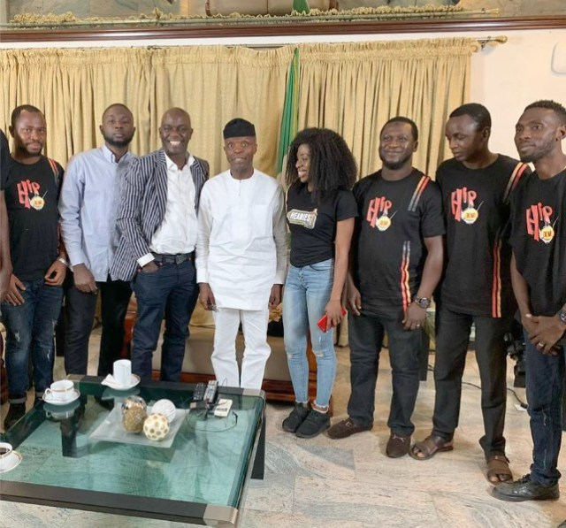 ...the HipTv crew members with the Vice President...