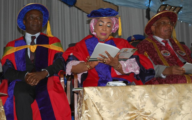 Chief (Mrs) Titi Atiku-Abubakar, middle, at the JABU Convocation ceremony...