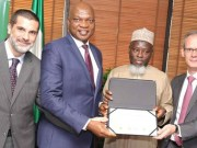L-R: Managing Director, Nigeria Agip Oil Company, Lorenzo Fiorillo; Managing Director, The Shell Petroleum Development Company of Nigeria Limited and Country Chair, Shell Companies in Nigeria, Osagie Okunbor; Chief Operating Officer Upstream, Nigeria National Petroleum Corporation, Rabiu Bello; and Managing Director, Total Exploration and Production Nigeria, Nicholas Terraz, after signing the Final Investment Decision Charter for the 300 million Standard Cubic Feet of Gas Per Day Assa North Gas Development Project, in Abuja… on Wednesday