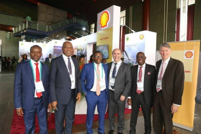 L-R: General Manager, Business and Government Relations Shell Nigeria, Bashir Bello; Country Chair, Shell Companies in Nigeria, Osagie Okunbor; Group General Manager, Corporate Planning and Strategy, Nigerian National Petroleum Corporation, Bala Wunti; Vice President, Shell Nigeria and Gabon, Peter Costello; Managing Director Shell Nigeria Exploration and Production Company, Bayo Ojulari; and General Manager, Shell Nigeria Upstream Gas and Commercial, Hans Nijkamp, at the summit…