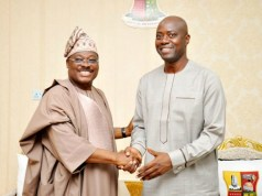 Senator Abiola Ajimobi, left, with Governor-Elect, Seyi Makinde of Oyo State...during the visit...