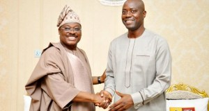 Senator Abiola Ajimobi, left, with Governor-Elect, Seyi Makinde of Oyo State...during the visit...