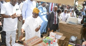 Governor State of Osun, Mr Gboyega Oyetola (Center); Minister of Health, Dr Isaac Adewole; Osun former Commissioner for Health, Dr. Rafiu Isamot (left) and others…during the event…