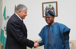 Governor, State of Osun, Mr Gboyega Oyetola, exchanging greetings with Ambassador of Isreal to Nigeria, Ambassador Shimon Ben-Shoshan, during the visit…