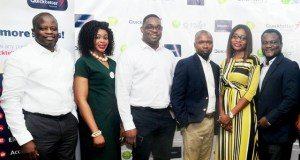 L-R: Head, Business Development, Interswitch Financial Inclusion Services, OnyekaUkpaka andDivisional CEO, Interswitch Financial Inclusion Services, Titilola Shogaolu withGbolahan Thomas, Head, Legal & Regulatory Services, Lotanna Anajemba, Head, Brands & Communications, AdenikeAjayi, Head, Retail Business, Tunde Baale, Ag. GM Sales & Distribution, all of Smile Nigeria, at the MOU signing ceremony held in Lagos between Interswitch and Smile Nigeria …recently