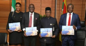 L-R: Delivery Integration Lead, Shell Nigeria Exploration and Production Company (SNEPCo), Solape Akinola; SNEPCo's Managing Director, Bayo Ojulari; Group Managing Director of NNPC, Maikanti Baru; and General Manager, Business and Government Relations of Shell Nigeria, Bashir Bello, at the recent presentation of the book: 'In Pursuit of Excellence' a compendium of SNEPCo's deep offshore story and feats to the leadership of NNPC in Abuja