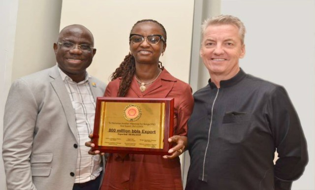 L-R: Managing Director, Shell Nigeria Exploration and Production Company (SNEPCo), Bayo Ojulari; SNEPCo's Bonga Asset Operations Manager, Elohor Aiboni; and the General Manager Contracting and Procurement, Antony Ellis, at the event...