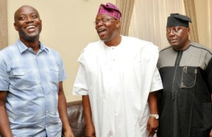 From left, Oyo State's governor-elect, Engr Seyi Makinde, PDP Southwest chairman, Dr Eddy Olafeso and the south west zonal secretary, Rev Bunmi Jenyo sharing a joke during the visit…