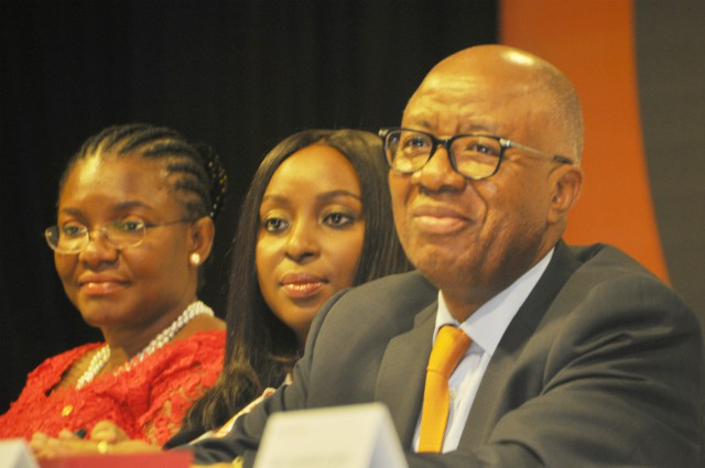 R-L: Chairman, Transcorp Hotels Plc, Mr. Emanuel Nnorom; Managing Director/CEO, Mrs Owen Omogiafo; and Executive Director, Ms Okaima Ohizua; at the 5th Annual General Meeting of the company held at Transcorp Hilton Hotels Abuja