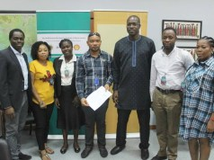 L-R: Manager, Nigeria Content Development, The Shell Petroleum Development Company of Nigeria Limited (SPDC), Olanrewaju Olawuyi; SPDC Training and Empowerment beneficiaries, Elizabeth Jumbo, Blessing Beresiri, Christopher Irimagha; SPDC General Manager, External Relations, Igo Weli; other beneficiaries, George Banigo and Christiana Green, at a ceremony in Port Harcourt to mark the completion of the SPDC capacity development programme for Bonny youths… recently