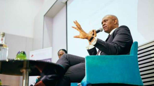 Tony Elumelu, CON engaging the distinguished audience at the convening on Africa's economic transformation convened by the Tony Elumelu Foundation in Brussels