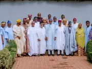 ...President Muhammadu Buhari, in a group photo with the visiting Yoruba Leaders...in Abuja...
