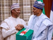 President Muhammadu Buhari, right, with Former Attorney General Mr Abubakar Malami as he receives the Report of Presidential Implementation Committee on the Financial Autonomy of State Legislature and State Judiciary in State House