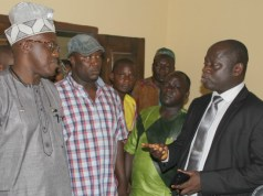 Dr Nureni Adeniran, left, addressing senior members of staff of Oyo SUBEB...on Wednesday...