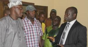 Dr Nureni Adeniran, left, addressing senior members of staff of Oyo SUBEB...on Wednesday...