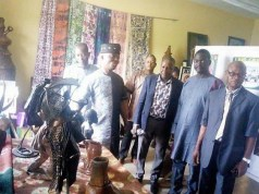 …the Director-General Ekiti State Council For Arts and Culture and some of the lecturers during a tour of Arts Gallery, Fine Arts Department of the college…