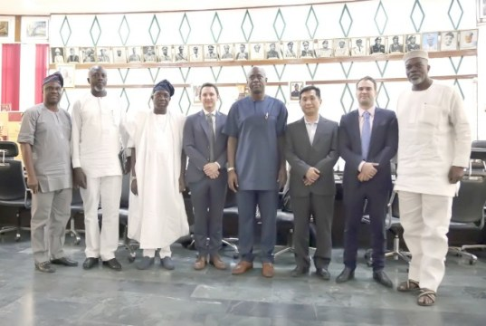 Oyo's Governor Seyi Makinde, fourth from the right, with the World Bank's Implementation Support Mission and the Ibadan Urban Flood Management Project officers and others...