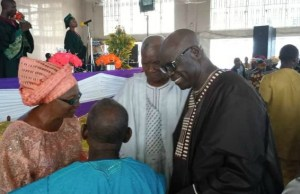 Hon. Olagunju Ojo, right, and his wife exchanging pleasantries with some elders in the church…