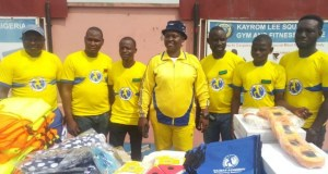 The CEO of RACBAR Academy Amb. Romoke Ayinde (middle) with staff members and coaches when the academy started its swimming session at the Obafemi Awolowo Stadium Ibadan…