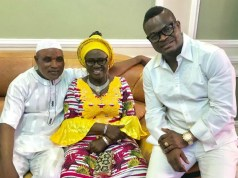 R-L: Sam Miracle, Mama Rainbow and another actor...inside the musician's new mansion in Ogun State...